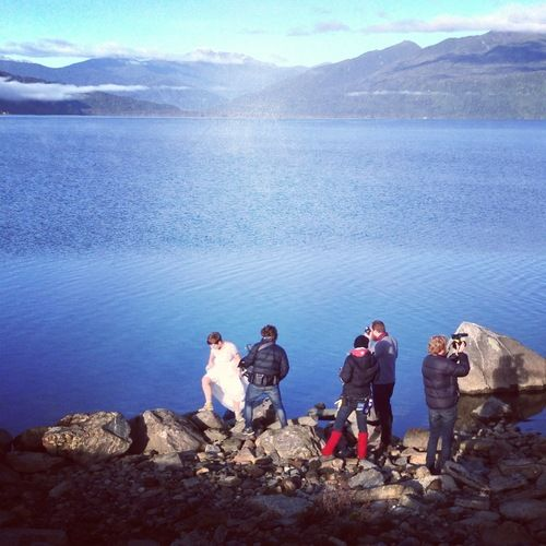 Lead Actress Brooke Petersen-McNeil climbing around the rocks of Lake Brunner!