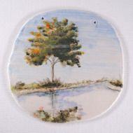 陶板画-湖畔に映る樹木-下絵付けによる風景画の画像