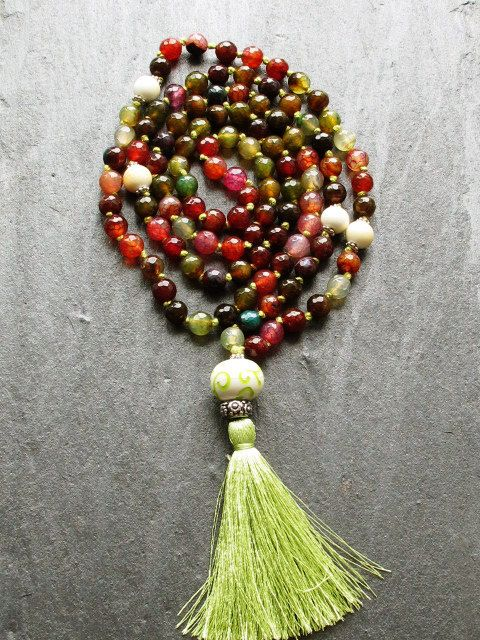 108 Agate Knotted Mala Necklace with Tassel by GlassHouseLampwork