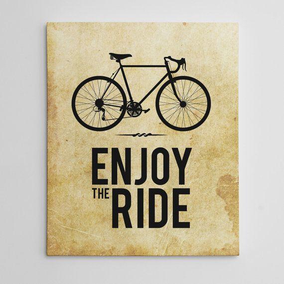 CANVAS PRINT - Enjoy the Ride Bicycle Canvas Print - Bicycle Vintage Decor Canvas Print