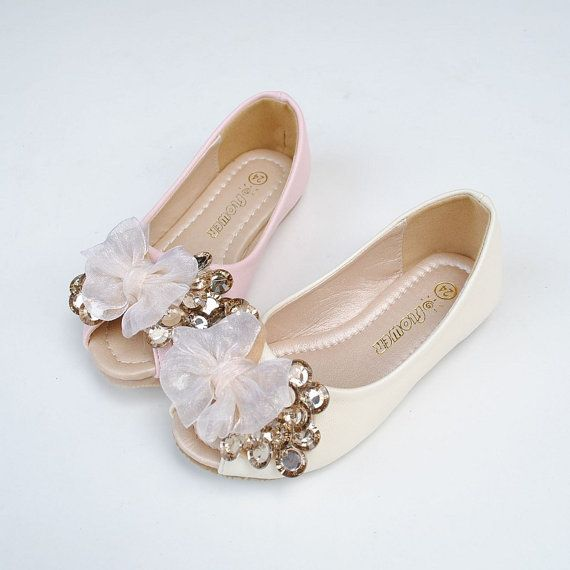 Peep Toe Flower Girl Shoes Ivory Lace Bow Champage Por Flowerlodge