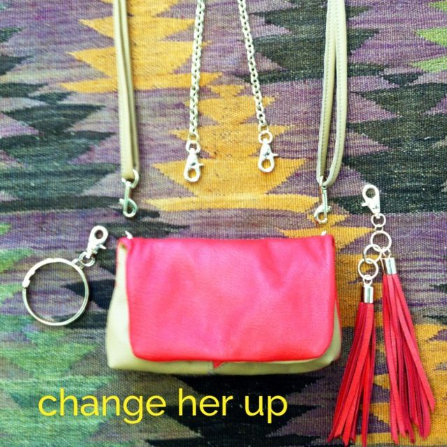 Everything comes off and goes back on! Clutch, chain/shoulder, cross-body, +tassel+chain hangs down. Your own combo for the perfect bag. $178