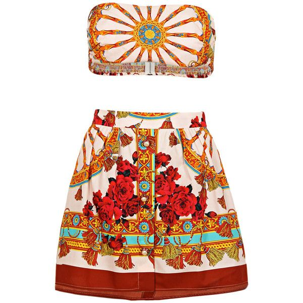 Dolce & Gabbana Multi Coloured Cotton Printed Two Piece ($915) ❤ liked on Polyvore featuring dresses, bandeau bikini top and bandeau tops