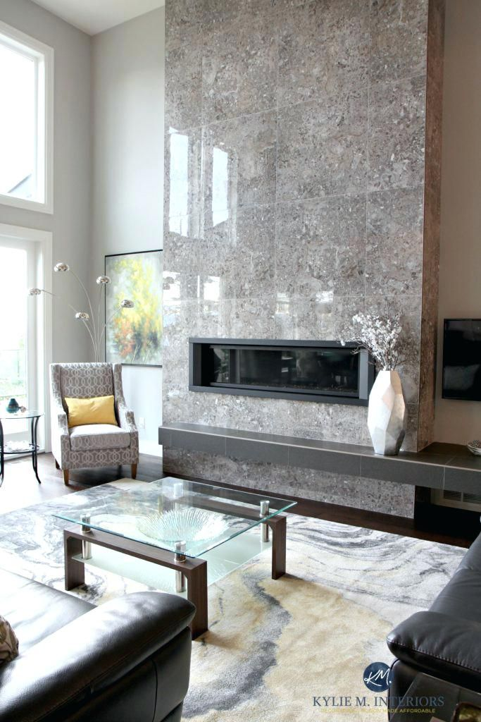 Contemporary Design Living Room Tall Tile Fireplace Modern Linear