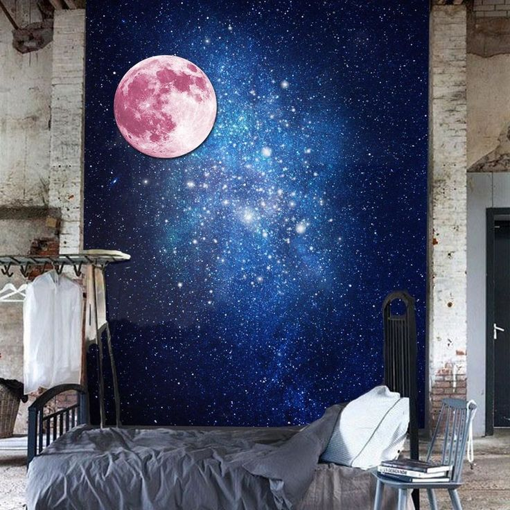 Мода стены наклейки Luminous Moon 3D ПВХ Нетоксичные Серебристые Съемный Art Vinyl Наклейки на стены Home Decor