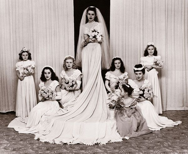 Post World War 2 wedding fashion - Amazingly, the bride's mother managed to find a 70 yard roll of this faille despite the rationing!