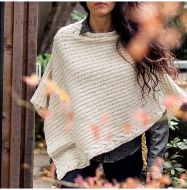 Irish Cable Knit Poncho - Women - Outlet
