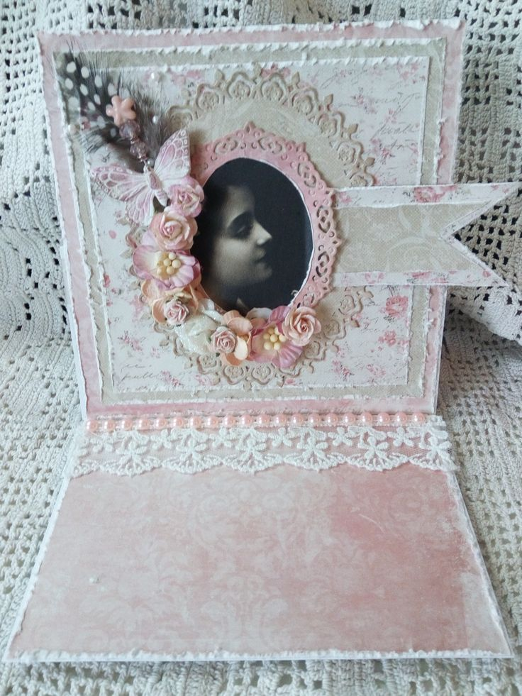 "Shabby ""just because"" card, roses, maja design papers, easel card,vintage image"