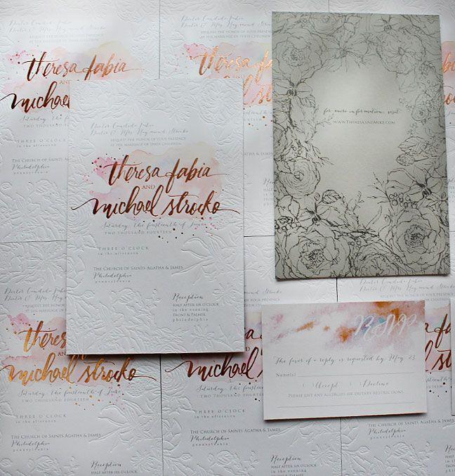 Rose Gold Foil and Blind Letterpress Floral Wedding Invitations