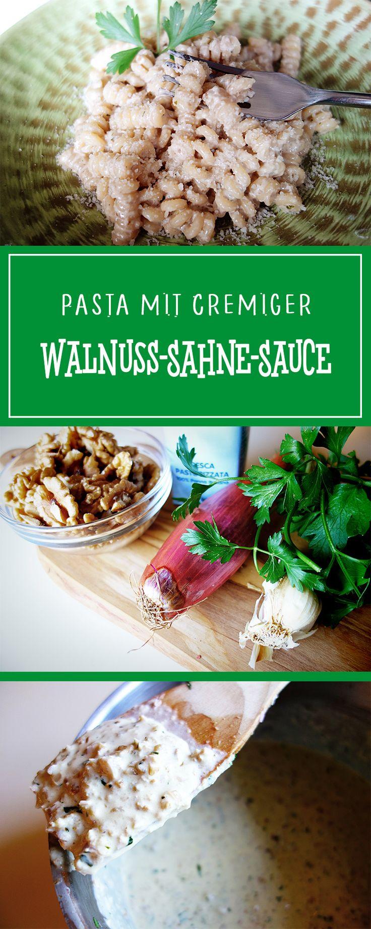 Pasta mit cremiger Walnuss-Sahne-Sauce - ein herrlich cremig-nussiges und vor allem einfaches Rezept für eine schnelle, glutenfreie und vegetarische Pasta!  | cucina-con-amore.de