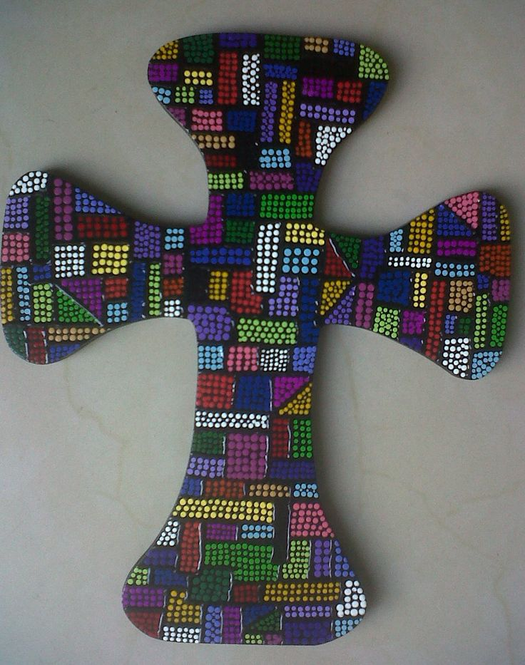 cross painted on pointillism / Cruz pintada en puntillismo