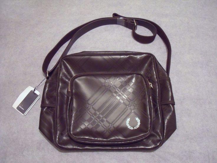 Fred Perry Designer Brown Tartan Embossed Flight/ Sling Bag - Gift Idea-RRP £100  | eBay