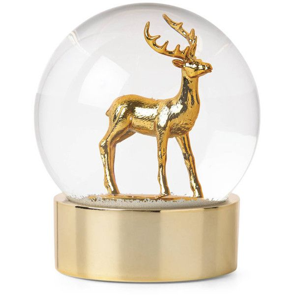 Golden Holidays Tree Snow Globe - Century 21 ❤ liked on Polyvore featuring home, home decor, holiday decorations, christmas tree snow globe and golden snow globe