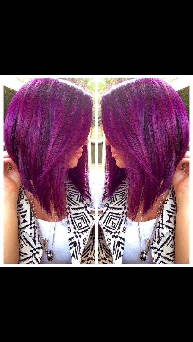 Purple hair  Long angled bob style
