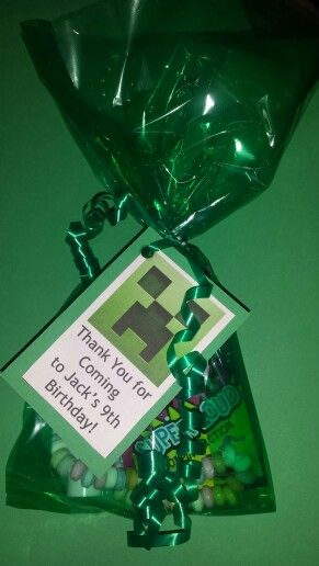 Minecraft party bags, like the idea of the thankyou card with the goody bag instead of sending them later.