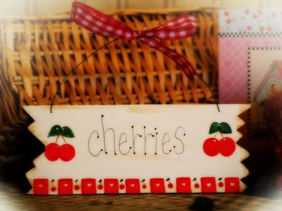 Cherry Kitchen Decor CHERRIES Whimsical By CountryCraftHeavenSt, $5.00
