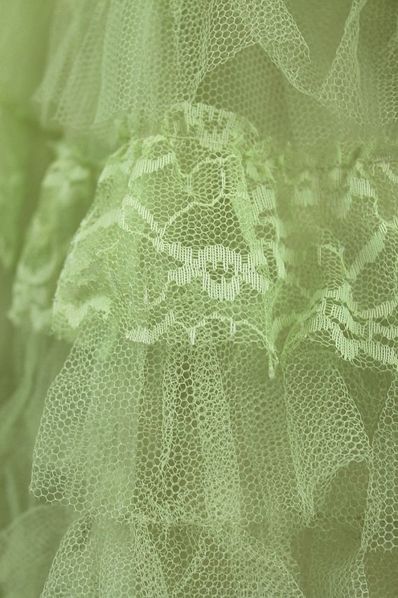50s Tulle Prom Dress  Vintage Mint Green Yellow by HepCatClothes, $195.00