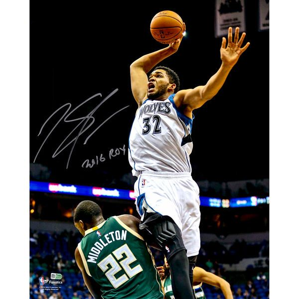 """Karl-Anthony Towns Minnesota Timberwolves Fanatics Authentic Autographed 16'' x 20'' Dunking Photograph with """"2016 ROY"""" Inscription - $199.99"""