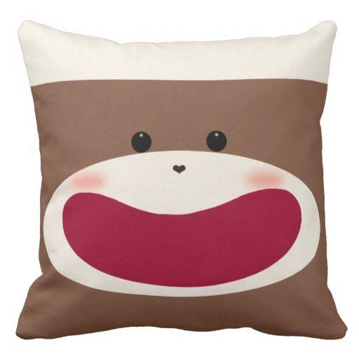 Sock Monkey Boy Throw Pillow