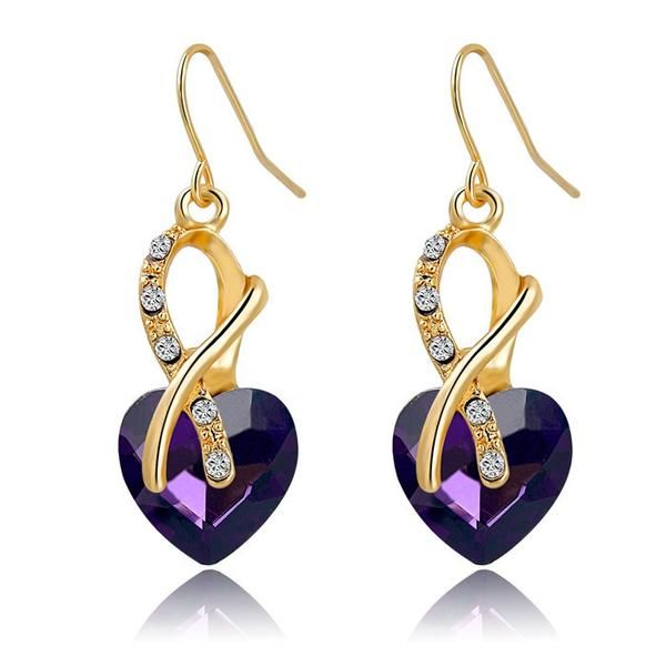 Colorful Hearts Earrings | Gold Plated + Austrian Crystals | 4 Styles