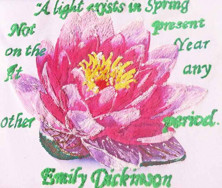 LOTUS Flower Painted 3d T shirt Emily Dickinson poetry