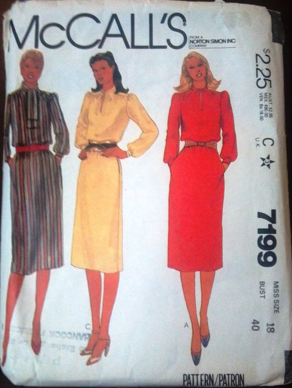 McCall's 7199 Pattern for misses' dress size by VictorianWardrobe, $4.00