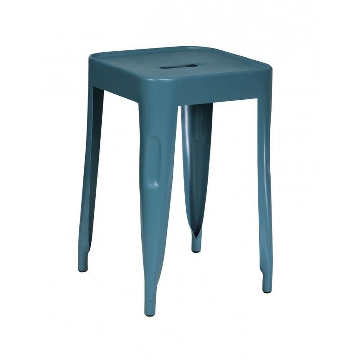 Comptoir de famille - tabouret métal gris turquoise