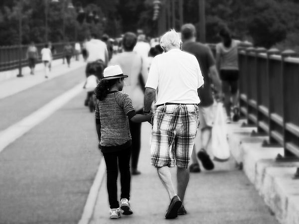 Memory With Grandpa by Zinvolle - A little girl was walking on Mississippi river bridge with her grandfather. We all have lovely memories like this, time spent with family is always the best time in our lives.