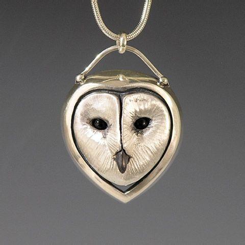 Brooke Stone Jewelry Silver Barn Owl pendant. Cast sterling silver w/ Onyx eyes   1 1/2 inch length CUTE!!