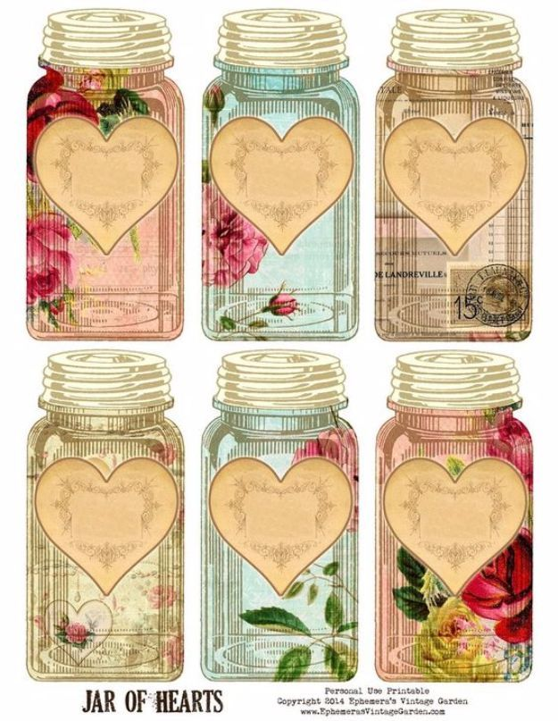 Free Printables for Mason Jars - Vintage Jar Of Hearts - Best Ideas for Tags and Printable Clip Art for Fun Mason Jar Gifts and Organization - Sugar scrub, Teacher Gifts, Valentines, Cookie Mixes, Party Favors, Wedding Holidays and Fun Recipes - DIY Mason Jar Gifts and Home Decor Crafts by DIY JOY http://diyjoy.com/free-printables-mason-jars