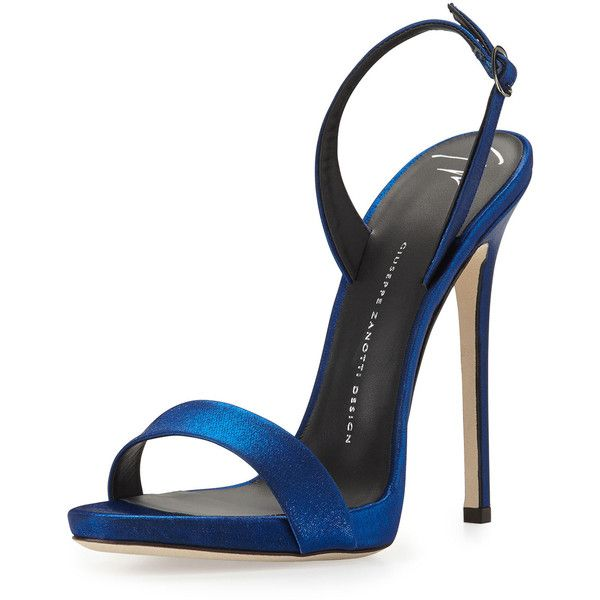 Giuseppe Zanotti Satin Slingback Sandal ($520) ❤ liked on Polyvore featuring shoes, sandals, heels, sapatos, electric blue, high heel shoes, strappy high heel sandals, strap heel sandals, heeled sandals and strappy sandals