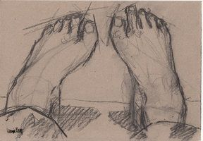 Feet in charcoal by ImaginaryLea  Linnéa Ahlberg