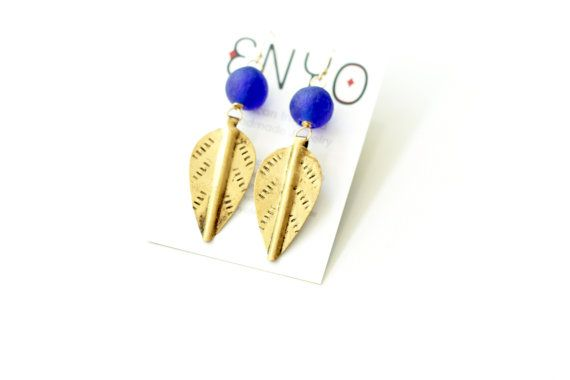 Navy Blue African Earrings, Kenyan Leaf Pendant, Brass African Jewelry, Ghanaian Recycled Glass, Ethnic Earrings, African Tribal Jewelry on Etsy, $28.00