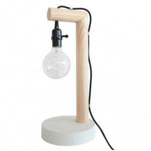Concrete and Timber Lamp with Black Cord by Milkcart