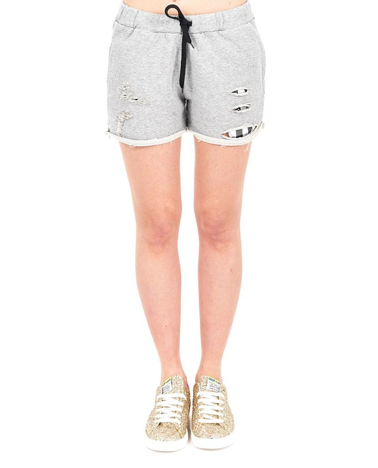 Grey cotton shorts with front tears drawstring waist two side pockets 100% CO