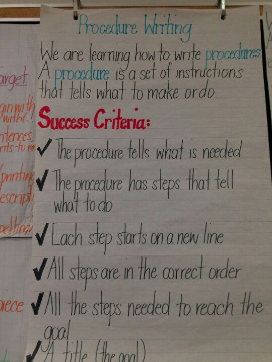 Success Criteria - Procedure