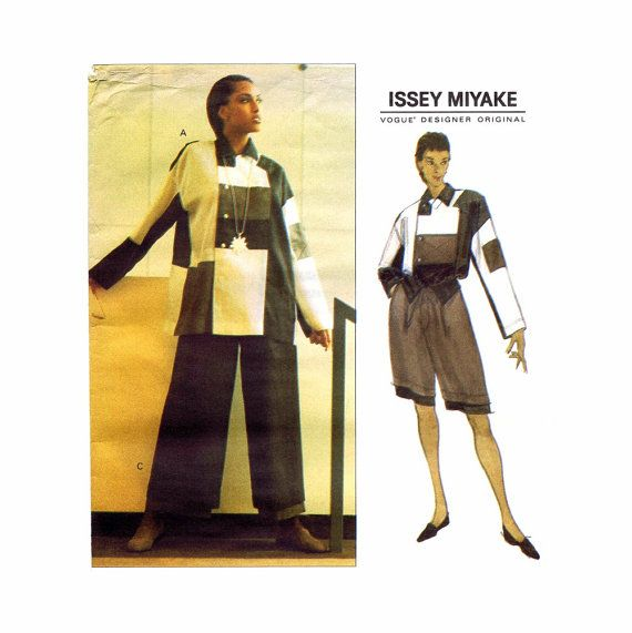 Issey Miyake Color Block Top Shorts Wide Legged Pants Vogue 1179 Vintage Sewing Pattern Full Figure Size 18 Bust 40 Uncut