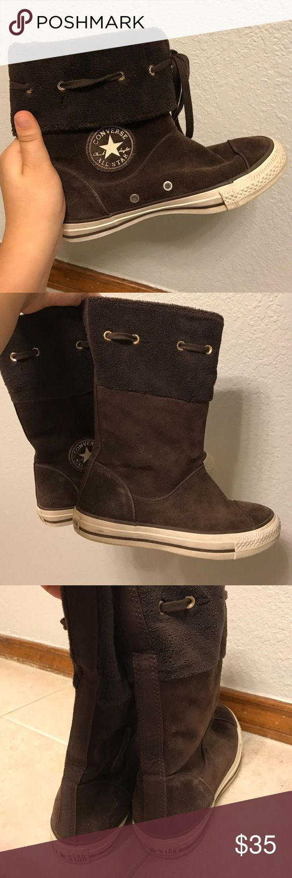Brown Converse Boots Brown leather Chuck Taylor Converse boots. Worn a couple of times, small signs of wear in heels. Can be worn tall or folded down. ACCEPTING OFFERS! Converse Shoes Ankle Boots & Booties