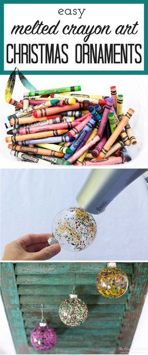 FUN ornament idea! So colorful! DIY christmas ornament melted crayon art from http://heatherednest.com