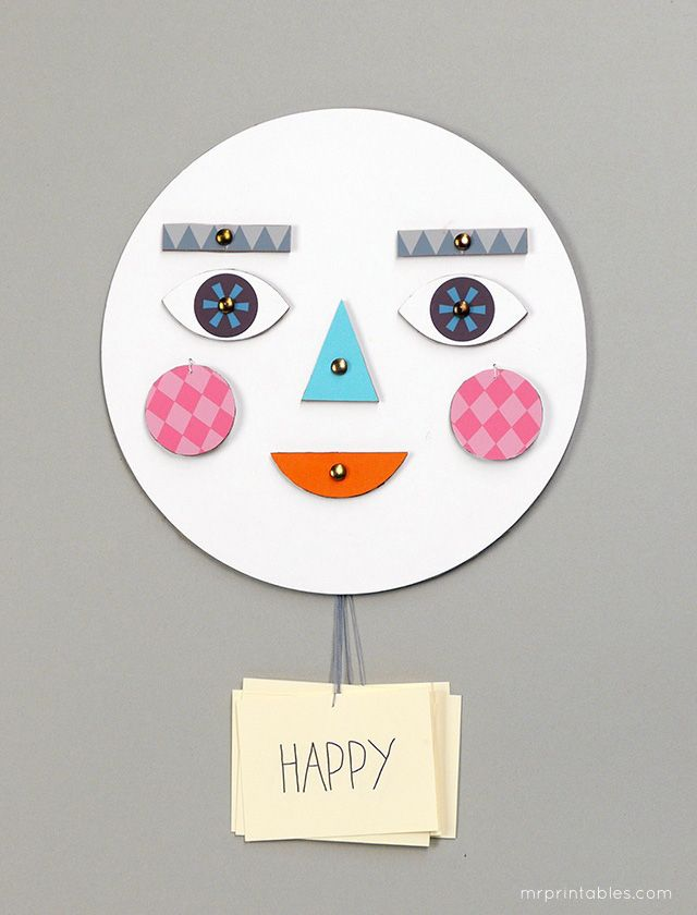 Printable Make-a-Face. DIY toy with changing faces for learning about emotions.