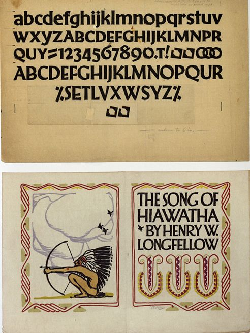 Art Nouveau typeface and The Song of Hiawatha book jacket by Vojtech Preissig