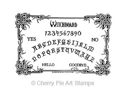 OuiJa board Witch board CLING rubber STAMP by cherrypieartstamps