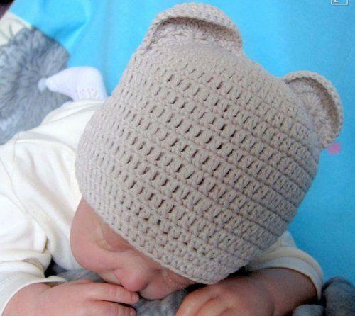 Серая шапочка для новорожденного крючком