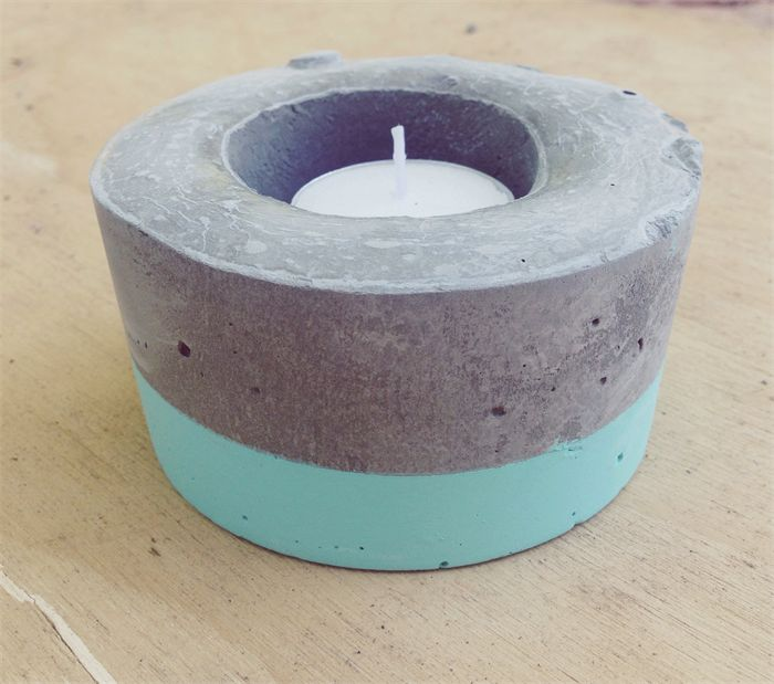 Rustic concrete candle holder - Mint | Little Creations by Stef | madeit.com.au