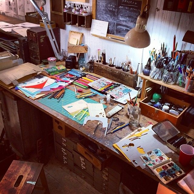 Artist Oliver Jeffers' desk. #workspace #studio