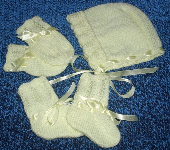 Lemon baby set of bonnetmittens and bootees by TheKnittingNannieGB