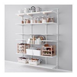 IKEA - ALGOT, Wall upright, shelf and basket, The parts in the ALGOT series can be combined in many different ways and easily adapted to your needs and space.You click the brackets into the ALGOT wall uprights wherever you want to have a shelf or accessory – no tools needed.Can also be used in bathrooms and other damp indoor areas.