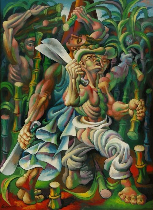 Love this painting! Cuban artist. El Fuego En El Batey by Mario Carreño