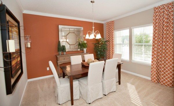 This Dining Room From Lennar Jacksonville In Bainebridge Estates Has The Perfect Pops Of Orange
