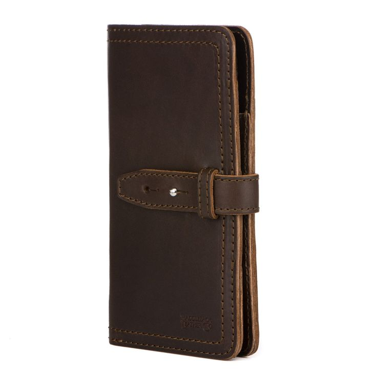 mens large leather wallet  in dark coffee brown leather